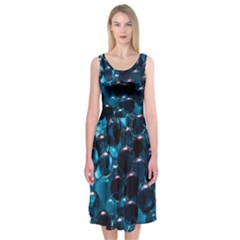 Blue Abstract Balls Spheres Midi Sleeveless Dress