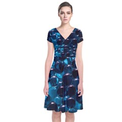 Blue Abstract Balls Spheres Short Sleeve Front Wrap Dress