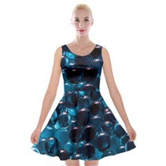 Blue Abstract Balls Spheres Velvet Skater Dress