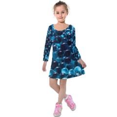 Blue Abstract Balls Spheres Kids  Long Sleeve Velvet Dress