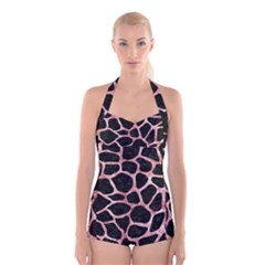 Skin1 Black Marble & Red & White Marble (r) Boyleg Halter Swimsuit