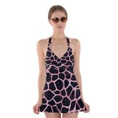Skin1 Black Marble & Red & White Marble (r) Halter Swimsuit Dress