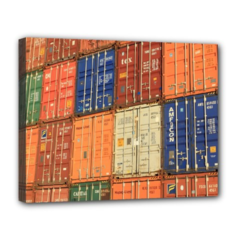Blue White Orange And Brown Container Van Canvas 14  X 11