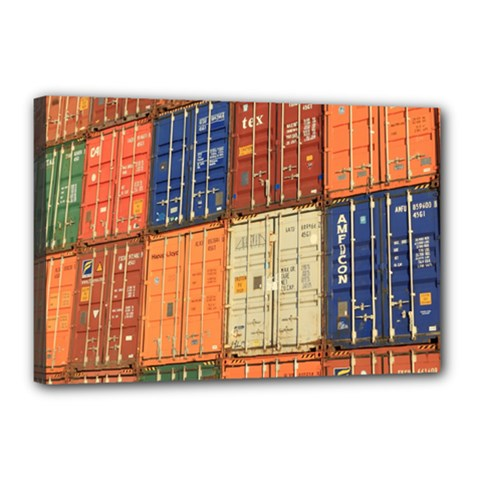 Blue White Orange And Brown Container Van Canvas 18  X 12