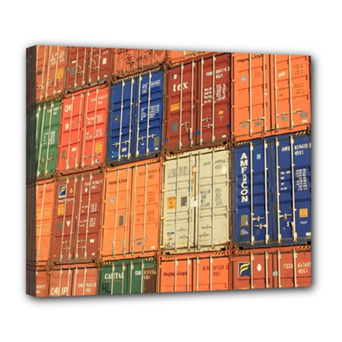 Blue White Orange And Brown Container Van Deluxe Canvas 24  X 20