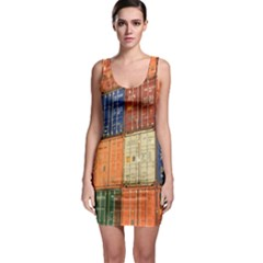 Blue White Orange And Brown Container Van Sleeveless Bodycon Dress