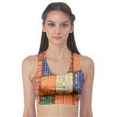 Blue White Orange And Brown Container Van Sports Bra
