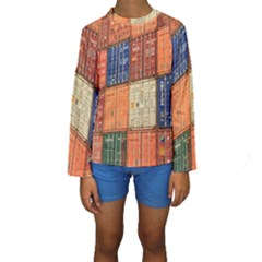 Blue White Orange And Brown Container Van Kids  Long Sleeve Swimwear