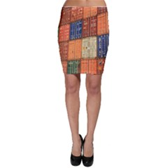 Blue White Orange And Brown Container Van Bodycon Skirt