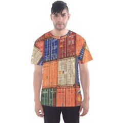 Blue White Orange And Brown Container Van Men s Sport Mesh Tee