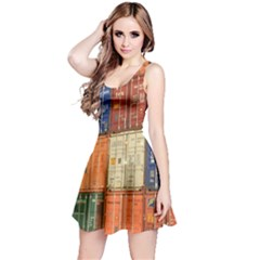 Blue White Orange And Brown Container Van Reversible Sleeveless Dress