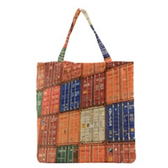 Blue White Orange And Brown Container Van Grocery Tote Bag