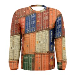 Blue White Orange And Brown Container Van Men s Long Sleeve Tee