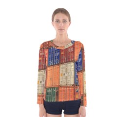 Blue White Orange And Brown Container Van Women s Long Sleeve Tee