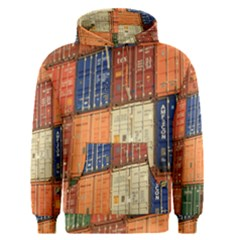 Blue White Orange And Brown Container Van Men s Pullover Hoodie