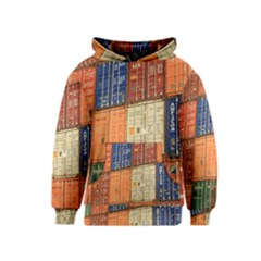 Blue White Orange And Brown Container Van Kids  Pullover Hoodie
