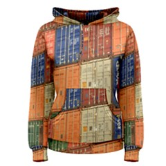 Blue White Orange And Brown Container Van Women s Pullover Hoodie