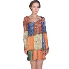 Blue White Orange And Brown Container Van Long Sleeve Nightdress