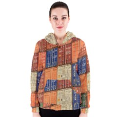 Blue White Orange And Brown Container Van Women s Zipper Hoodie