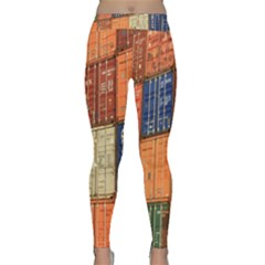 Blue White Orange And Brown Container Van Classic Yoga Leggings