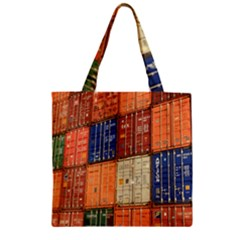 Blue White Orange And Brown Container Van Zipper Grocery Tote Bag