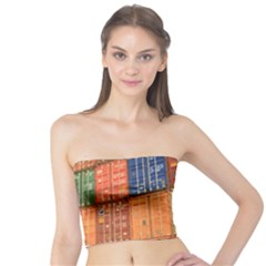 Blue White Orange And Brown Container Van Tube Top
