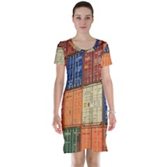 Blue White Orange And Brown Container Van Short Sleeve Nightdress