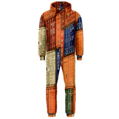 Blue White Orange And Brown Container Van Hooded Jumpsuit (men)