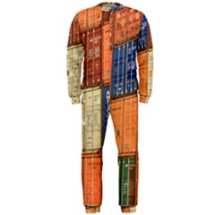 Blue White Orange And Brown Container Van Onepiece Jumpsuit (men)
