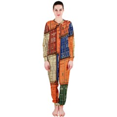 Blue White Orange And Brown Container Van Onepiece Jumpsuit (ladies)