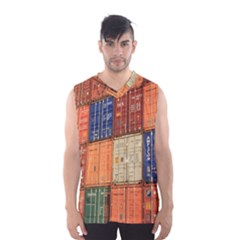 Blue White Orange And Brown Container Van Men s Basketball Tank Top