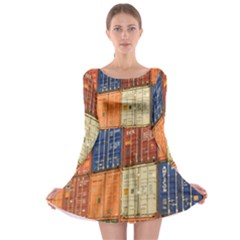 Blue White Orange And Brown Container Van Long Sleeve Skater Dress