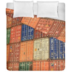 Blue White Orange And Brown Container Van Duvet Cover Double Side (california King Size)
