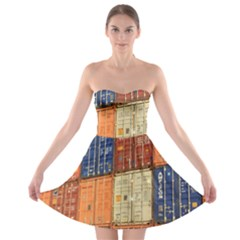 Blue White Orange And Brown Container Van Strapless Bra Top Dress