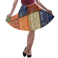 Blue White Orange And Brown Container Van A Line Skater Skirt