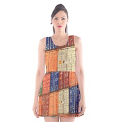 Blue White Orange And Brown Container Van Scoop Neck Skater Dress