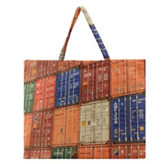 Blue White Orange And Brown Container Van Zipper Large Tote Bag