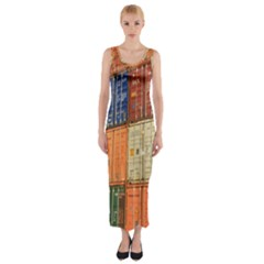 Blue White Orange And Brown Container Van Fitted Maxi Dress