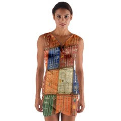 Blue White Orange And Brown Container Van Wrap Front Bodycon Dress