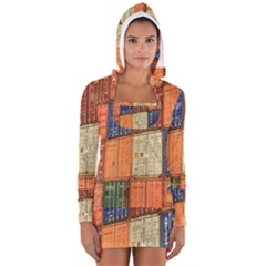 Blue White Orange And Brown Container Van Women s Long Sleeve Hooded T-shirt