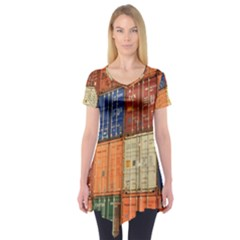 Blue White Orange And Brown Container Van Short Sleeve Tunic