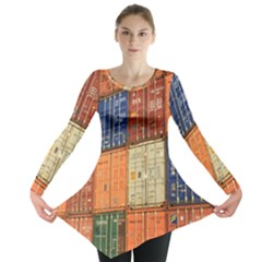 Blue White Orange And Brown Container Van Long Sleeve Tunic