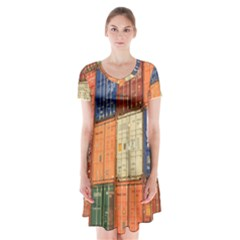 Blue White Orange And Brown Container Van Short Sleeve V Neck Flare Dress