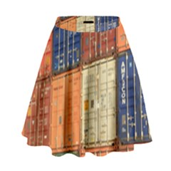 Blue White Orange And Brown Container Van High Waist Skirt