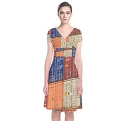 Blue White Orange And Brown Container Van Short Sleeve Front Wrap Dress