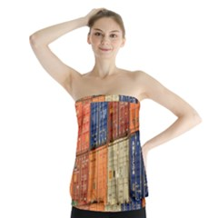 Blue White Orange And Brown Container Van Strapless Top
