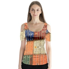Blue White Orange And Brown Container Van Butterfly Sleeve Cutout Tee