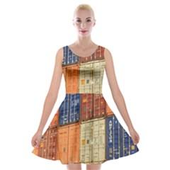 Blue White Orange And Brown Container Van Velvet Skater Dress