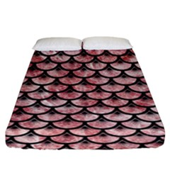 Scales3 Black Marble & Red & White Marble (r) Fitted Sheet (king Size)