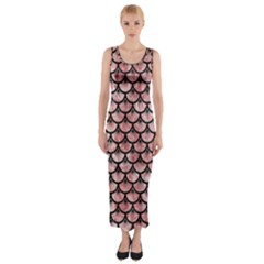 Scales3 Black Marble & Red & White Marble (r) Fitted Maxi Dress